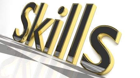 Skills sign in gold and glossy letters on a white background and a checkerboard pattern floor for an interesting header for career concept with copy space. 3d Rendering - Illustration Zdjęcie Seryjne