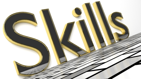 Skills sign in gold and glossy letters on a white background and a brick pattern floor for an interesting header for career concept with copy space. 3d Rendering - Illustration