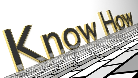 Know how sign in gold and glossy letters on a white background and a checkerboard pattern floor for an interesting header for knowledge concept with copy space. 3d Rendering - Illustration