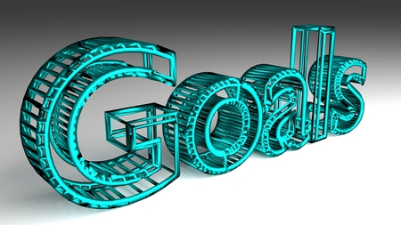 Goals sign in turquoise and glossy letters for an interesting header for successful future concept. 3d Rendering - Illustration