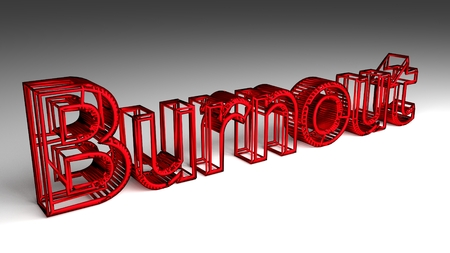 Burnout sign in red and glossy letters for an interesting header for work life balance concept. 3d Rendering - Illustration