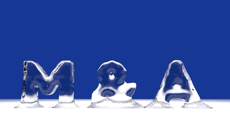 M&A word from melting ice letters  for an interesting header for merger and aquisition concept with copy space. 3d Rendering - Illustration