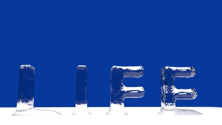 Life word from melting ice letters  for an interesting header for life concept with copy space. 3d Rendering - Illustration Stock Photo