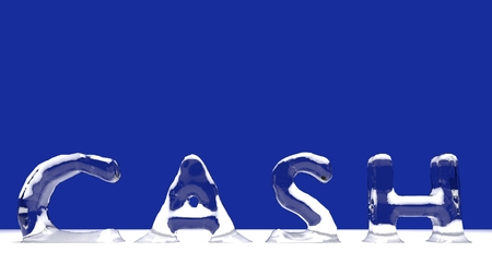 CASH word from melting ice letters  for an interesting header for financial concept with copy space. 3d Rendering - Illustration