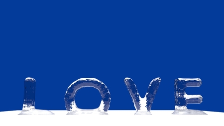 LOVE word from melting ice letters  for an interesting header for relation concept with copy space. 3d Rendering - Illustration