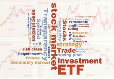 ETF 거래소 차트 배경으로 자금 단어 구름 거래