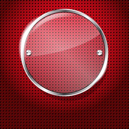 Red background with glass circle frame for your text photo