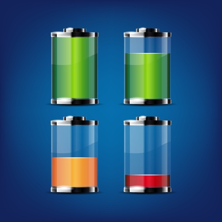 button batteries: Glossy transparent battery icons for any non-white background