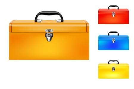 storage boxes: Set of four colored vector toolboxes