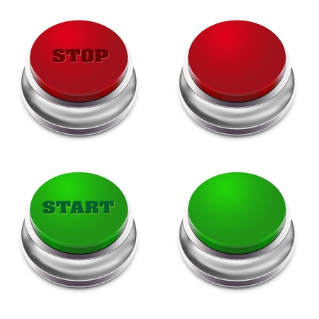 metal buttons: Red and green STARTSTOP button - illustration