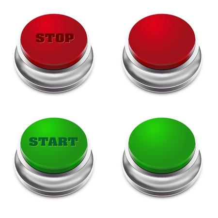 boton stop: Rojo y verde bot�n START  STOP - ilustraci�n