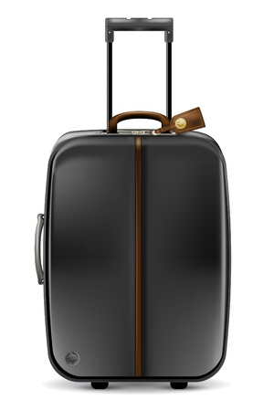 Black suitcase on white-realistic vector illustration Illustration