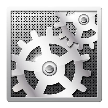 image size: Engranajes de metal vector icono