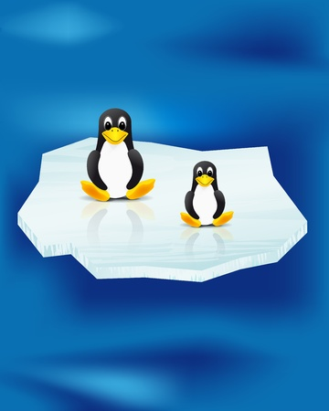 Two penguins on ice floe and sea Vector