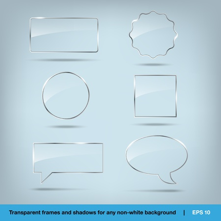 Collection of transparent vector glass frames Stock Vector - 12292014