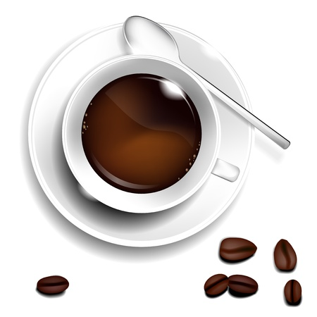 Cup of coffee, spoon and coffee beans. Realistic vector. Vector