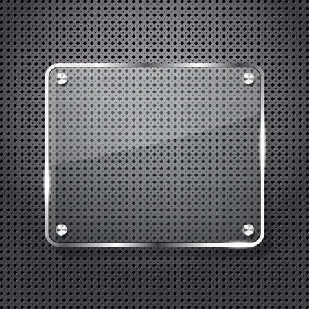 Metal background with glass frame for your text Vector
