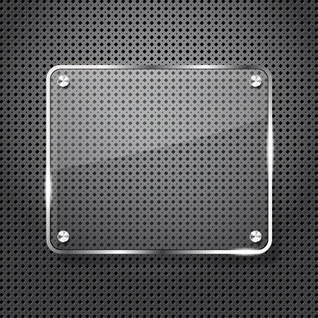 dark fiber: Metalen achtergrond met glasraam voor uw tekst