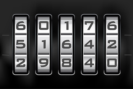 safe lock: Combination lock - number code. Vector file. Illustration