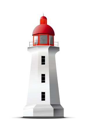 Lighthouse: Detailed vector lighthouse isolated on white