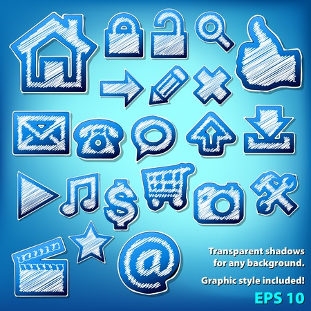 Vector scribbled grungy icons. Graphic style included. Stock Vector - 12291980