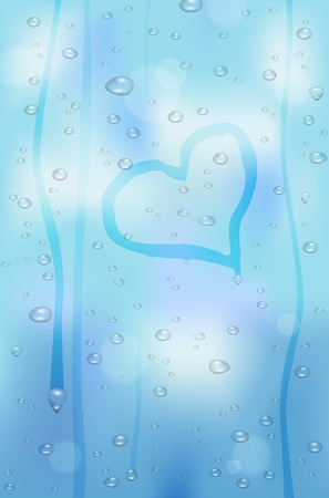 condensation: Raindrops on glass window - heart shape. Vector file.