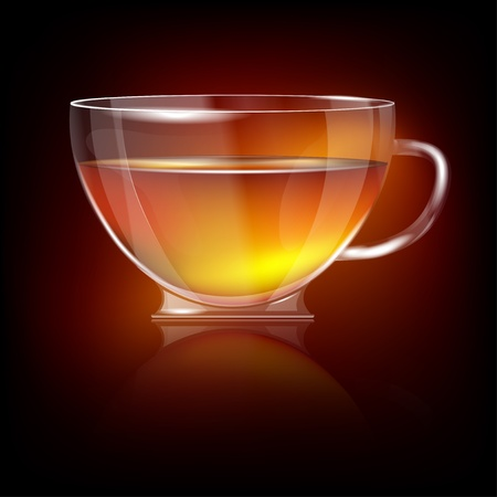 hot cup: Shiny transparent glass cup with tea. For any non-white background!