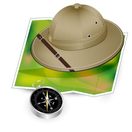Safari hat, map and compass - travel icon
