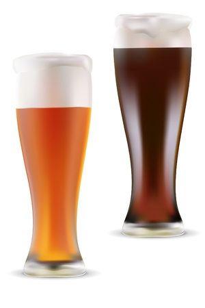 Vector illustration of light and dark beer on white background Stock Vector - 12291991