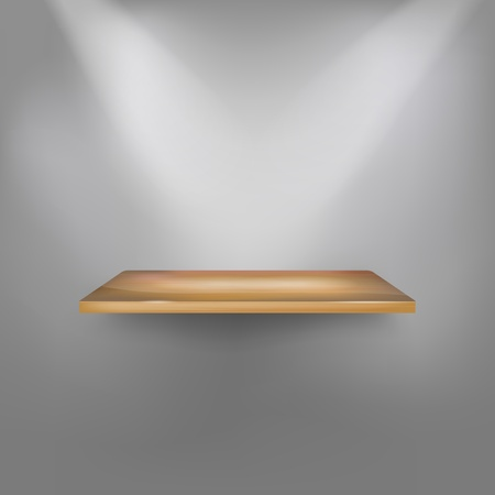 expansive: Empty wooden shelf on the wall. Vector illustration.