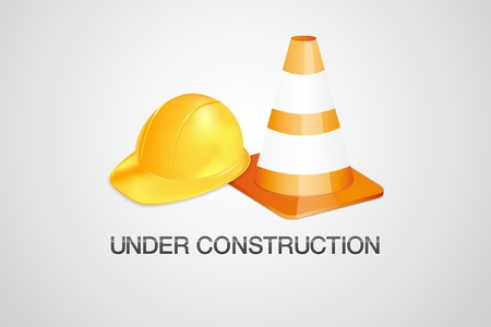 construction helmet: Under construction vector symbol - helmet and cone Illustration