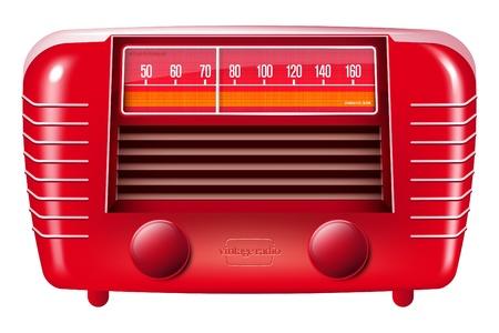 Red vintage radio illustration Stock Photo