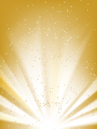 fireworks background: Stars golden vector background with place for your text