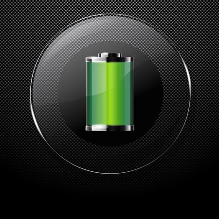 baterii: Metal ze szkła tło przycisku BATTERY PEŁNEGO