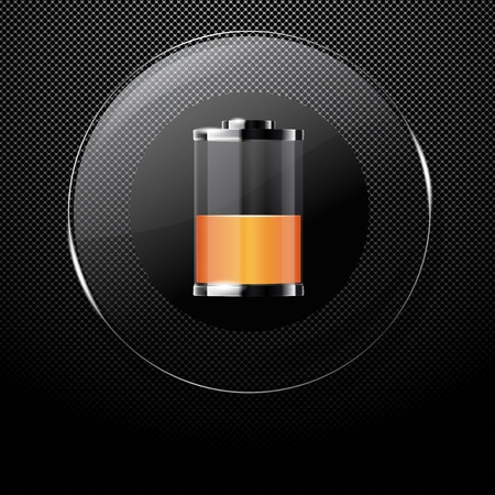 Metal background with glass HALF FULL BATTERY button Vector