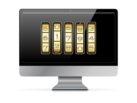 combination lock: Gold number code on a computer monitor - vector file