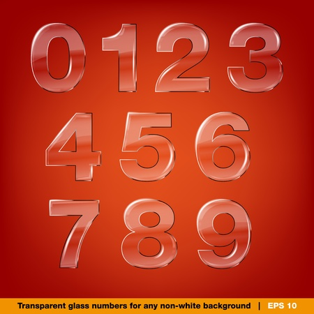 math icon: Set of transparent vector glass numbers