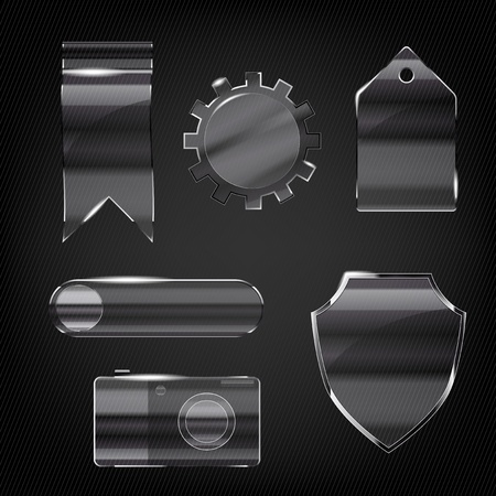 structure metal: Set of glass transparent icons for any non-white background Illustration