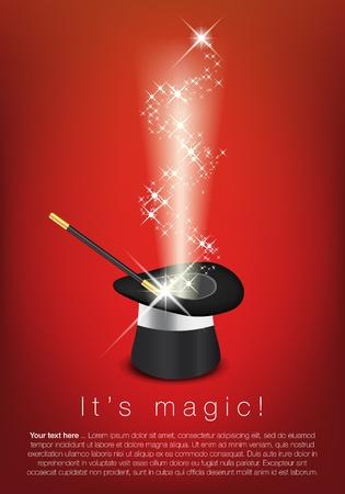 mago: Magia sombrero, varita y las estrellas brillantes - lugar para el texto
