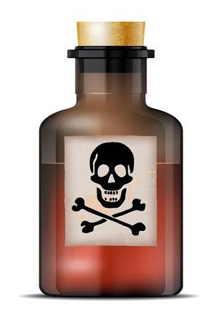 veneno frasco: Botella de vidrio de veneno sobre un fondo blanco. Vector archivo.