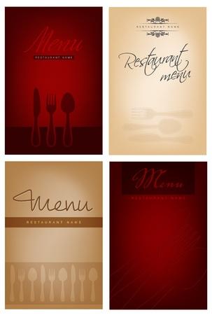 carta de postres: Juego de cuatro dise�o de men� de un restaurante. archivo-lugar para el texto.