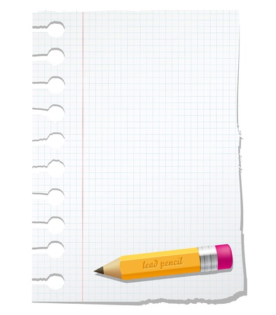 block note: Vector paper with lead pencil