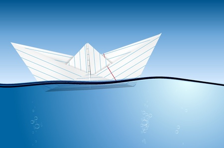 Origami papieren bootje op het water niveau - vector-bestand