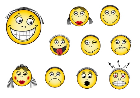 Set of smiley faces in various facial expressions Vector