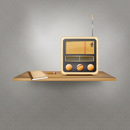 Wooden shelf with vintage radio, book and pencil  Vector