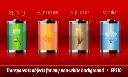 Glossy battery icons with season symbols Stock Vector - 12292200