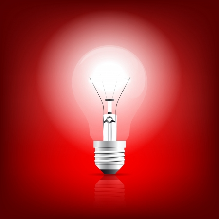 Bulb glowing on a red background   Ilustrace