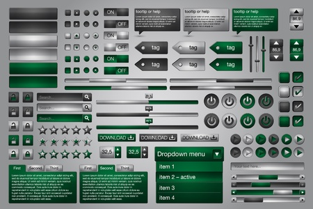 Set of green gray web UI elements easily customizable Illustration