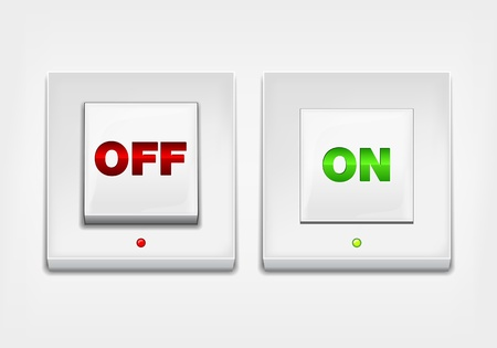 light switch: Red and green ON OFF button Illustration