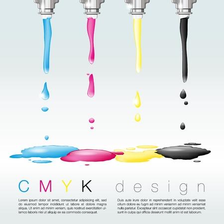 Four nozzles with CMYK colors - CMYK print concept - place for text